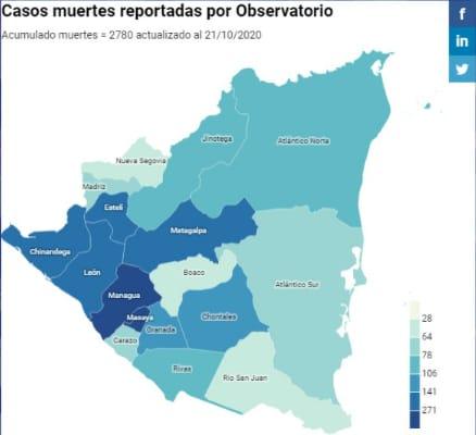 Lugares más afectados por el Coronavirus en Nicaragua