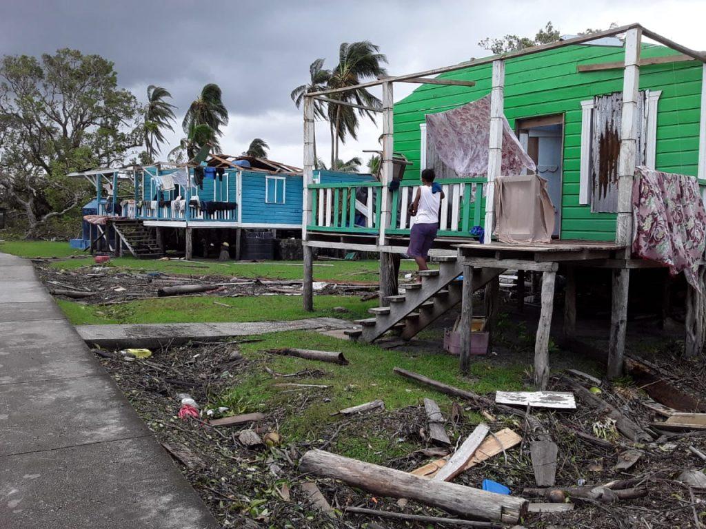 Viviendas afectadas tras el paso de Eta en Nicaragua. Cortesía