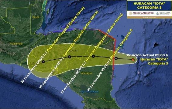 Proyección de la trayectoria del huracán Iota